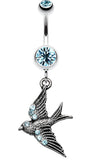 Flying Swallow Sparkle Belly Button Ring - 14 GA (1.6mm) - Aqua - Sold Individually
