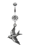 Flying Swallow Sparkle Belly Button Ring - 14 GA (1.6mm) - Clear - Sold Individually