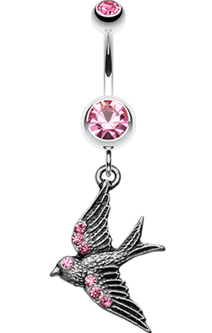 Flying Swallow Sparkle Belly Button Ring - 14 GA (1.6mm) - Light Pink - Sold Individually