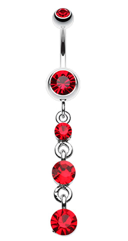 Glass-Gems Galore Belly Button Ring - 14 GA (1.6mm) - Red - Sold Individually