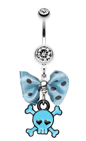 Dainty Skull Crossbones Polka Dot Bow Belly Button Ring - 14 GA (1.6mm) - Blue - Sold Individually
