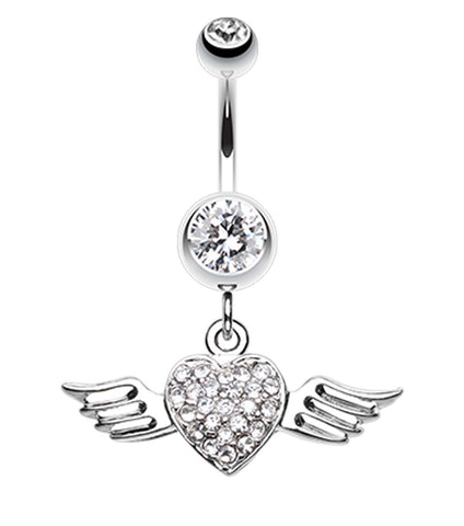 Angel Luster Heart Belly Button Ring - 14 GA (1.6mm) - Clear - Sold Individually