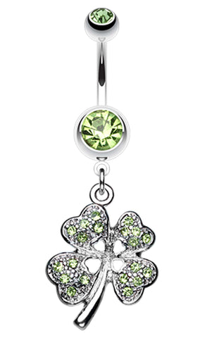 Classic Four Leaf Clover Sparkle Belly Button Ring - 14 GA (1.6mm) - Light Green - Sold Individually