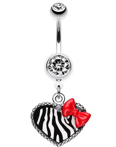 Cute Zebra Heart Red Bow Charm Belly Button Ring - 14 GA (1.6mm) - Clear - Sold Individually