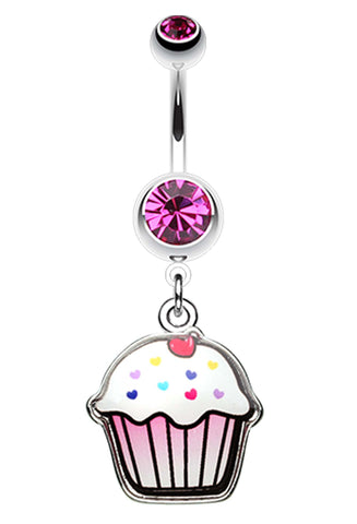 Cute Cupcake Belly Button Ring - 14 GA (1.6mm) - Fuchsia - Sold Individually