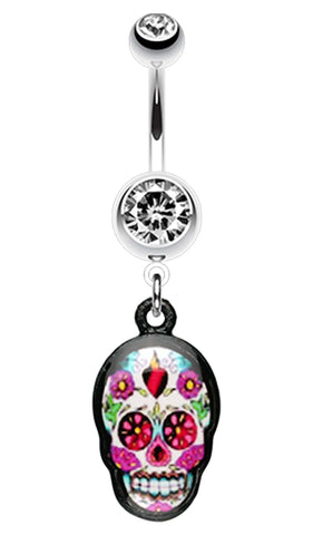 Brightly Colored Sugar Skull Print Belly Button Ring - 14 GA (1.6mm) - Clear - Sold Individually