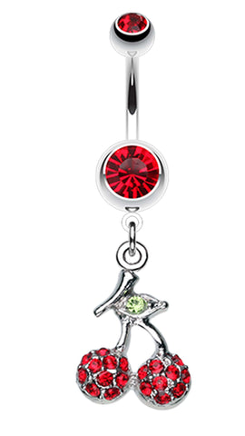 Shimmering Cherry Dangle Belly Button Ring - 14 GA (1.6mm) - Red - Sold Individually