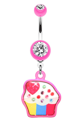 Sweet Tooth Cupcake Belly Button Ring - 14 GA (1.6mm) - Pink - Sold Individually
