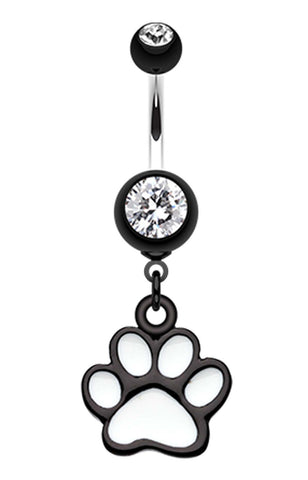Paw Print Belly Button Ring - 14 GA (1.6mm) - Black - Sold Individually