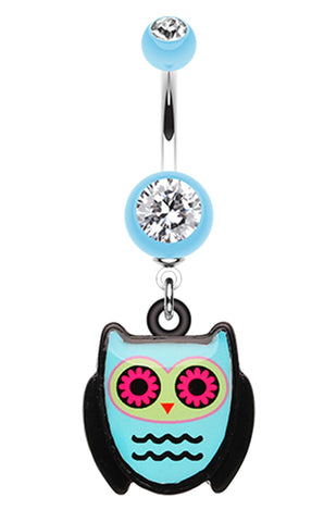 Cute Owl Belly Button Ring - 14 GA (1.6mm) - Light Blue - Sold Individually