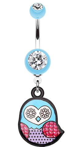Patterned Owl Belly Button Ring - 14 GA (1.6mm) - Light Blue - Sold Individually