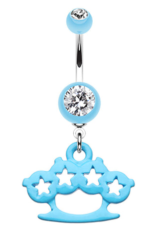 Star Brass Knuckle Belly Button Ring - 14 GA (1.6mm) - Light Blue - Sold Individually