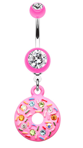 Pink Frosted Sprinkled Donut Belly Button Ring - 14 GA (1.6mm) - Pink - Sold Individually