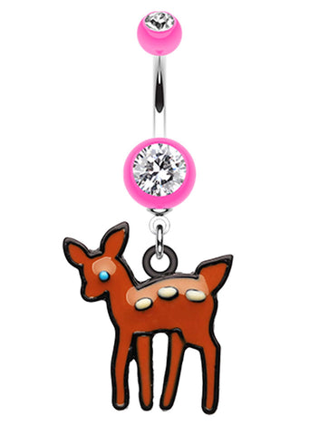Adorable Fawn Belly Button Ring - 14 GA (1.6mm) - Pink - Sold Individually
