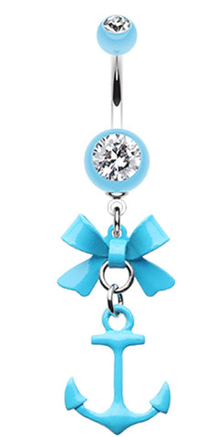 Cute Anchor Bow-Tie Belly Button Ring - 14 GA (1.6mm) - Light Blue - Sold Individually
