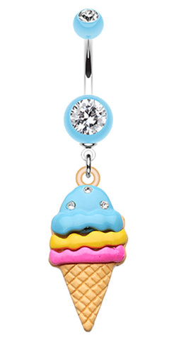 Triple Treats Ice Cream Belly Button Ring - 14 GA (1.6mm) - Light Blue - Sold Individually