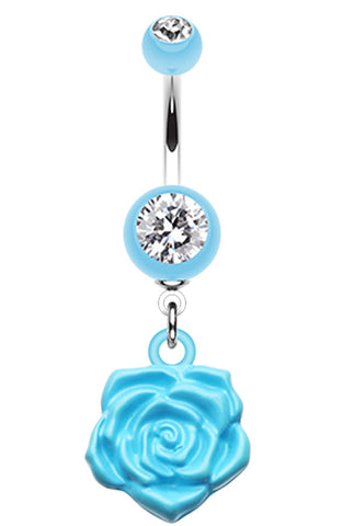 Immortal Rose Belly Button Ring - 14 GA (1.6mm) - Light Blue - Sold Individually