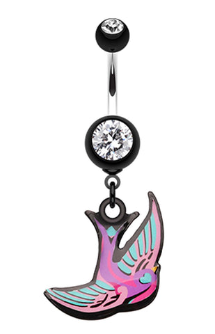 Freedom Bird Belly Button Ring - 14 GA (1.6mm) - Black - Sold Individually