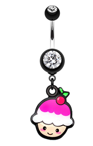 Kawaii Cherry Cupcake Belly Button Ring - 14 GA (1.6mm) - Black - Sold Individually
