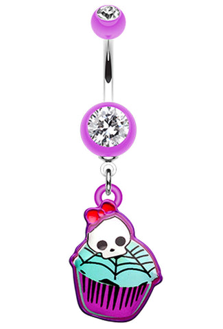 Emo Skull Cupcake Belly Button Ring - 14 GA (1.6mm) - Purple - Sold Individually