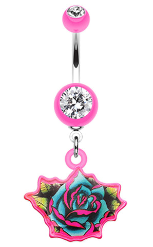 Retro Tattooed Rose Belly Button Ring - 14 GA (1.6mm) - Pink - Sold Individually