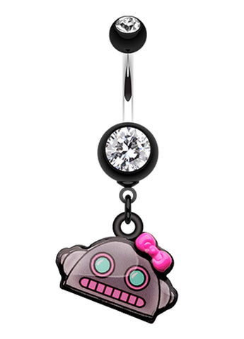 Lilly-Bot Belly Button Ring - 14 GA (1.6mm) - Black - Sold Individually