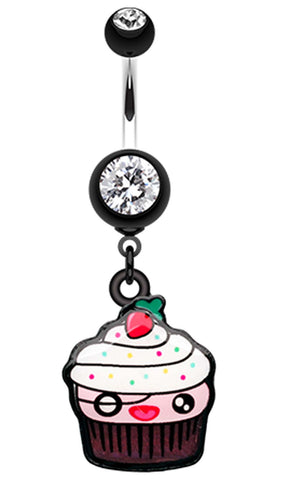 Betty Cupcake Belly Button Ring - 14 GA (1.6mm) - Black - Sold Individually