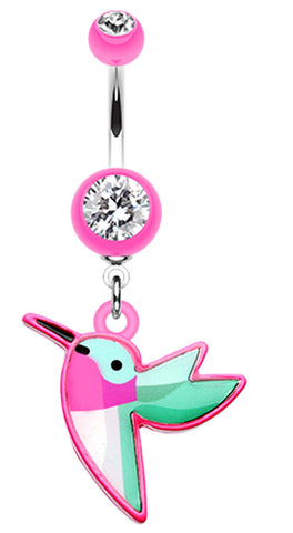 Hummingbird Belly Button Ring - 14 GA (1.6mm) - Pink - Sold Individually
