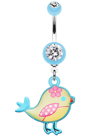 Sweet Tweet Birdie Belly Button Ring - 14 GA (1.6mm) - Light Blue - Sold Individually