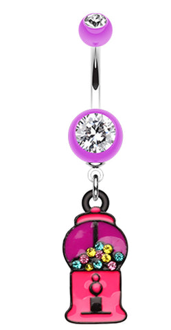 Gumball Candy Machine Belly Button Ring - 14 GA (1.6mm) - Purple - Sold Individually