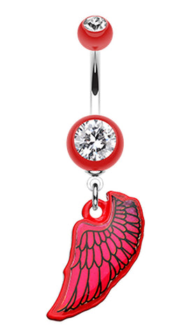 Bright Angel Wing Belly Button Ring - 14 GA (1.6mm) - Red - Sold Individually
