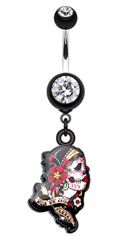 Gypsy Sugar Skull Belly Button Ring - 14 GA (1.6mm) - Black - Sold Individually