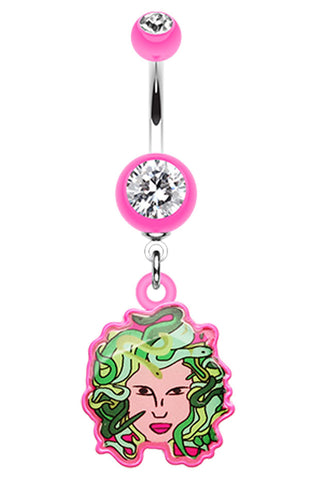 Hot Medusa Belly Button Ring - 14 GA (1.6mm) - Pink - Sold Individually