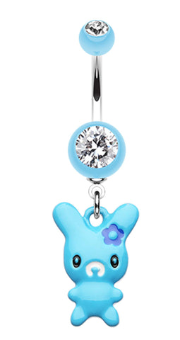 Marshmallow Bunny Belly Button Ring - 14 GA (1.6mm) - Light Blue - Sold Individually