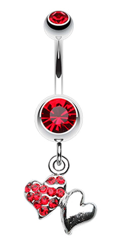 Hugging Hearts Luster Belly Button Ring - 14 GA (1.6mm) - Red - Sold Individually