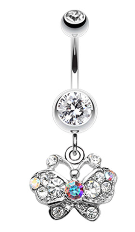 Charming Butterfly Belly Button Ring - 14 GA (1.6mm) - Clear - Sold Individually