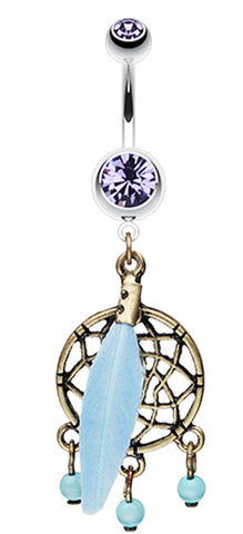 Vintage Bronze Dream Catcher Belly Button Ring - 14 GA (1.6mm) - Blue - Sold Individually