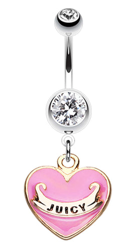 Juicy heart Belly Button Ring - 14 GA (1.6mm) - Pink - Sold Individually