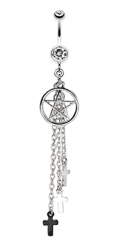 Pentagram Triple Cross Charm Dangle Belly Button Ring - 14 GA (1.6mm) - Clear - Sold Individually