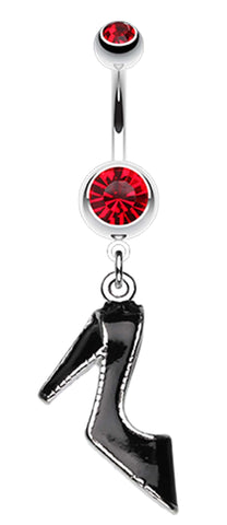 Black Stiletto High Heel Belly Button Ring - 14 GA (1.6mm) - Red - Sold Individually