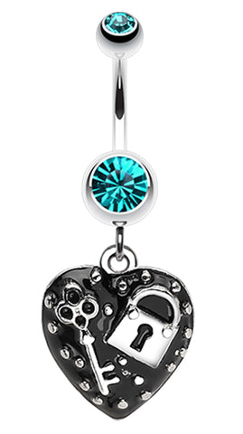 Lock & Key on Black Heart Dangle Belly Button Ring - 14 GA (1.6mm) - Teal - Sold Individually