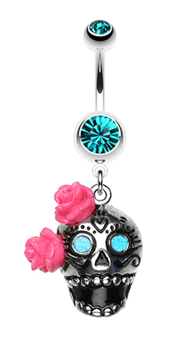 Bright Sugar Skull Rose Belly Button Ring - 14 GA (1.6mm) - Teal - Sold Individually