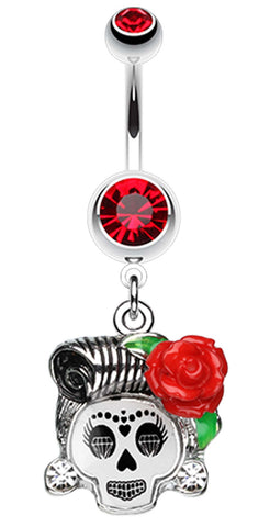 Dolled Up Sugar Skull Belly Button Ring - 14 GA (1.6mm) - Red - Sold Individually