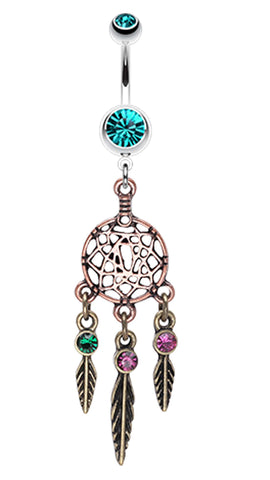 Majestic Elegance Dream Catcher Belly Button Ring - 14 GA (1.6mm) - Teal - Sold Individually