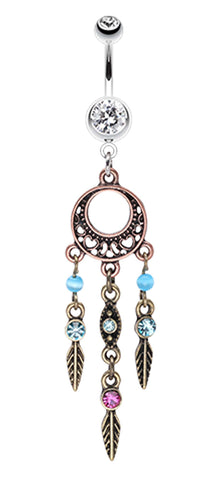 Beautiful Vintage Style Dream Catcher Belly Button Ring - 14 GA (1.6mm) - Clear - Sold Individually