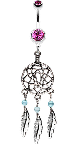 Classic Pewter Dream Catcher Belly Button Ring - 14 GA (1.6mm) - Fuchsia - Sold Individually