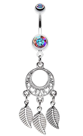 Petit Heart Hoop Dream Catcher Belly Button Ring - 14 GA (1.6mm) - Aurora Borealis - Sold Individually