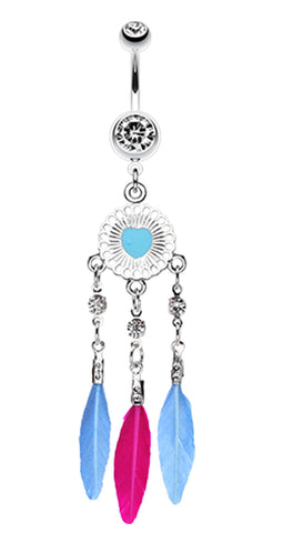 Stylish Heart Dream Catcher Belly Button Ring - 14 GA (1.6mm) - Clear - Sold Individually