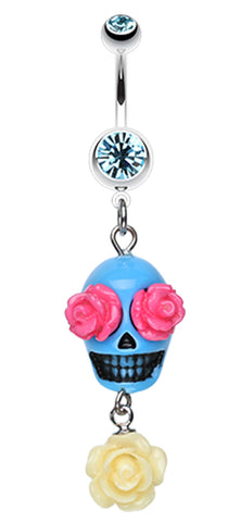 Florid Sugar Skull Dangle Belly Button Ring - 14 GA (1.6mm) - Aqua - Sold Individually