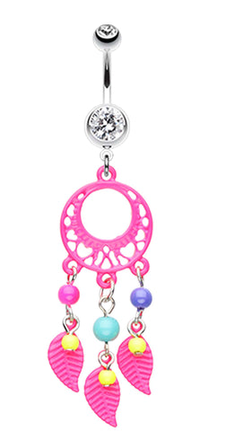 Enchanted Loop Dream Catcher Belly Button Ring - 14 GA (1.6mm) - Pink - Sold Individually